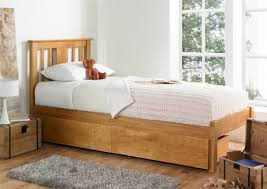 Wooden Bed Malmo Oak Finish Solo Wooden Bed Frame Light Wood Wooden Beds