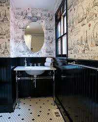 Toile Bathroom Wallpaper by Toile Wallpaper Black With Bathroom Black And White Bathroom