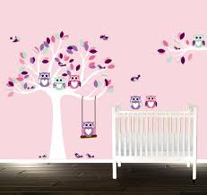 tree wall stickers girls nursery tree pink room decals owl zoom