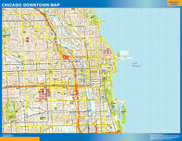 Chicago Map Usa by Chicago Downtown Map Netmaps Usa Wall Maps Shop Online