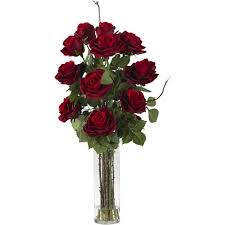 Artificial Flower Arrangement In Vase Red Roses With Cylinder Vase Silk Flower Arrangement Walmart Com