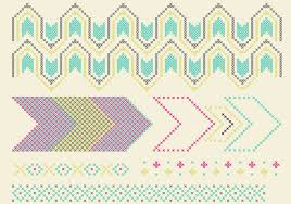 cross stitch pattern set download free vector art stock