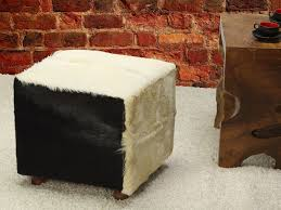 White Fur Ottoman by Furniture Comely Image Of Decorative Furry Black And White Cube