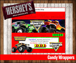 monster truck invitation 80 off sale monster jam candy bar wrappers instant download