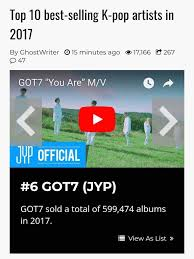 got7 on top 10 best selling k pop artists of 2017 got7 amino