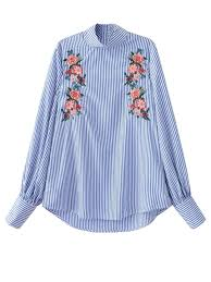 striped blouse floral embroidered striped blouse stripe blouses l zaful