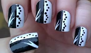 nail art shocking nail art black and white picture concept easy