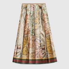silk skirt gucci women sea map print silk skirt 427133zgx209275