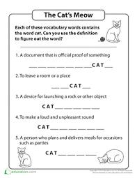 cat vocabulary worksheet education com