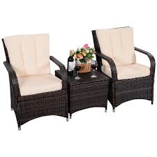 Outdoor Patio Wicker Furniture by 3 Pcs Patio Pe Rattan Wicker Cushioned Seat Outdoor Furniture