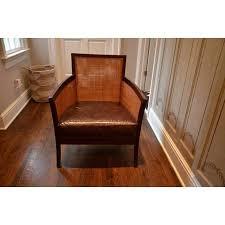 crate u0026 barrel rattan u0026 leather accent chair chairish