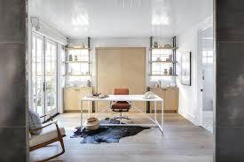 Modern Cowhide Rug Modern White Sleek Desk With Black Cowhide Rug Transitional