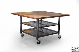 walnut u0026 steel industrial kitchen island dining table u2013 real