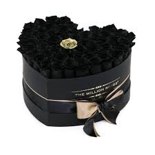 black roses box black black single gold eternity roses