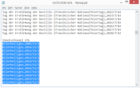 csv format outlook import outlook code importing bank holidays from an outlook hol based csv
