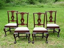 vintage set 4 solid mahogany chippendale style ball u0026 claw foot