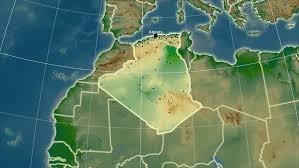 algeria physical map algeria map stock footage