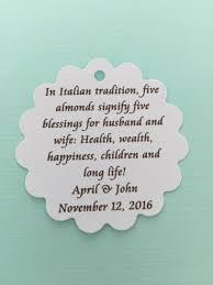italian jordan almond poem tag for wedding favors