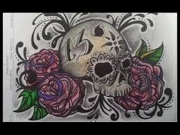imagenes chidas de calaveras dibujar calavera con rosas youtube