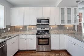 grey and white glass tile backsplash home design ideas
