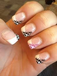gel nails for my paris trip white tip with black and purple