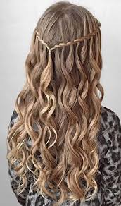 country hairstyles for long hair twisted waterfall half updo with curls braids pinterest half