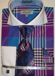 mens turquoise bold plaid double cuff dress shirt tie hanky set