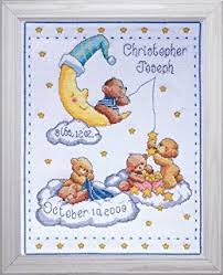 tobin baby bears birth record counted cross stitch kit