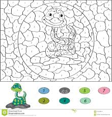 color by number educational game for kids funny cartoon snake