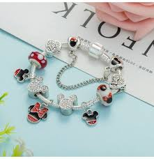 fashion jewelry charm bracelet images Charm bracelet for women with cartoon mickey pendant fine bracelet jpg