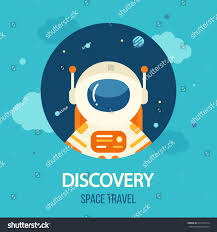 Travel Theme Cosmos Discovery Poster Exploration Travel Theme Stock Vector
