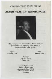 Make Funeral Programs Funeral Program For Albert Thompson Jr July 30 2002 The