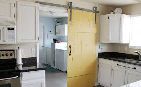 Sliding Kitchen Doors Interior Interior Vintage Yellow Painted Wood Sliding Barn Door Kitchen