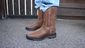 ariat workhog wide square toe boots youtube