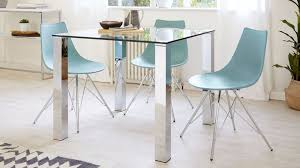 Square Glass Dining Table Chrome Legs  Seater Table UK - Glass for kitchen table