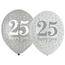 25th anniversary plates happy 25th silver wedding anniversary party banners balloons
