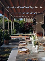 exterior retractable canopy with backyard garden also metal