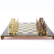 chess set greek roman period large gold bronze handcrafted