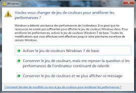 performance du bureau pour windows aero voulez vous changer de jeu de couleurs pour améliorer les