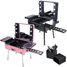 makeup case with lights and mirror rolling studio makeup case cosmetic travel wheeled table light