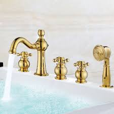 Three Handle Bathtub Faucets Designer Five Holes Polished Brass Three Handle Tub Shower Faucet