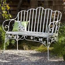 amazon com ivy scroll antique white iron outdoor bench patio
