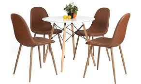 Brown Leather Chairs For Dining Amazon Com Greenforest Dining Side Chairs Washable Pu Cushion