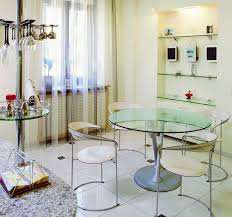 delectable modern glass round dining table design and