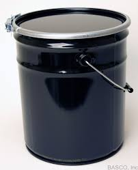 5 gallon steel pail with plain lever lock cover black