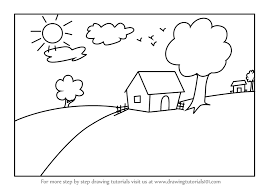 drawing a house learn how to draw a house scenery for kids scenes step by step