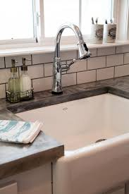 Kitchen Sink With Backsplash Countertops Concrete Countertop With White Subway Tile Backsplash