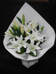 Lily Bouquet Oriental Lilly White Bouquet Flower Wholesalers Takapuna