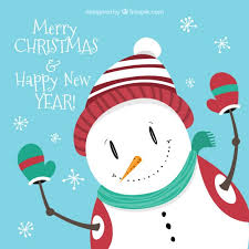snowman christmas card vector free download