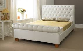 White Sleigh Bed Colored White Tufted Sleigh Bed Vine Dine King Bed Luxurious